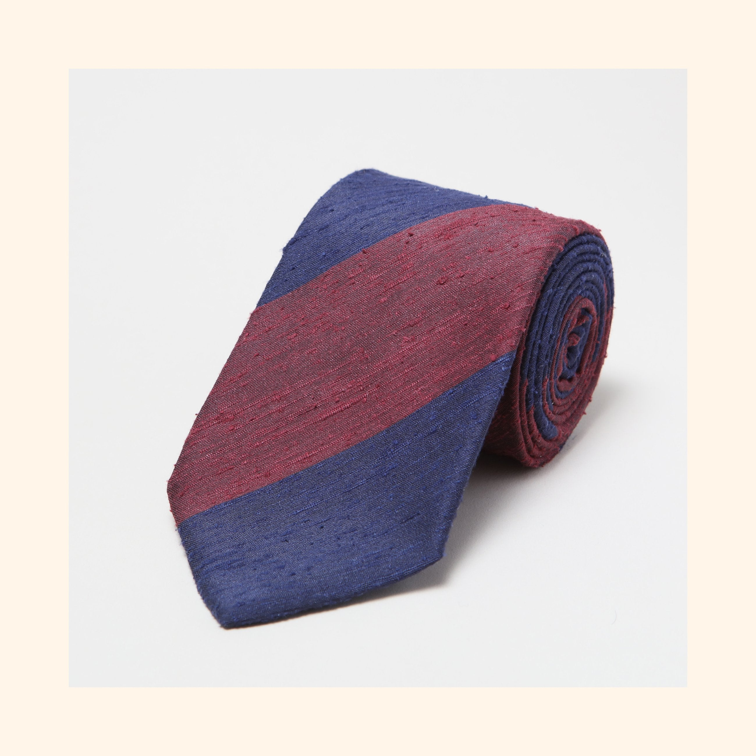 № 068 - Burgundy/Navy Wide Stripe Shantung Silk Tie