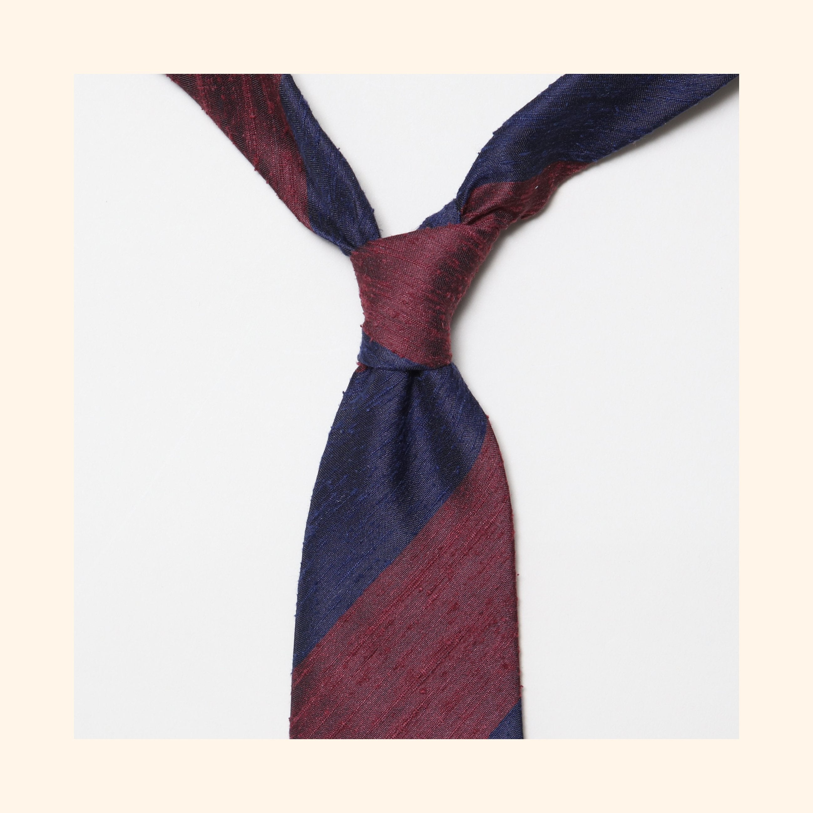 "â""– 068 - Burgundy/Navy Wide Stripe Shantung Silk Tie"
