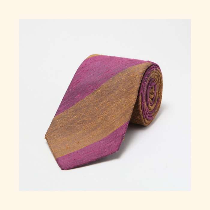№ 069 - Coffee/Thistle Wide Stripe Shantung Silk Tie