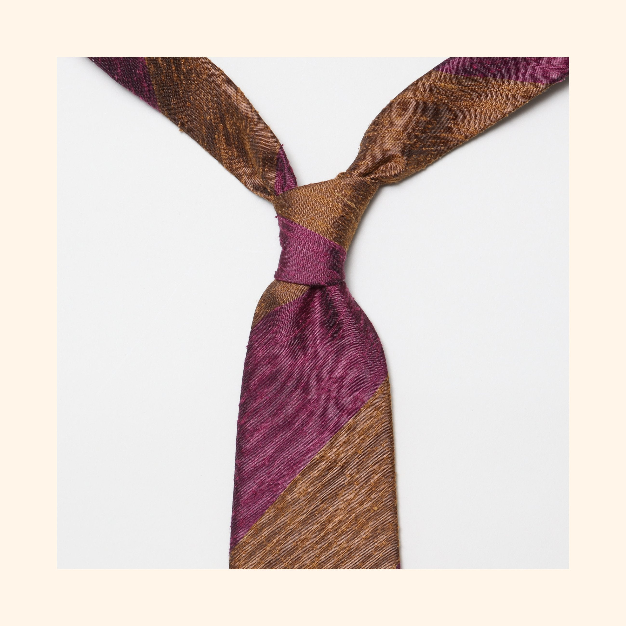 "â""– 069 - Coffee/Thistle Wide Stripe Shantung Silk Tie"