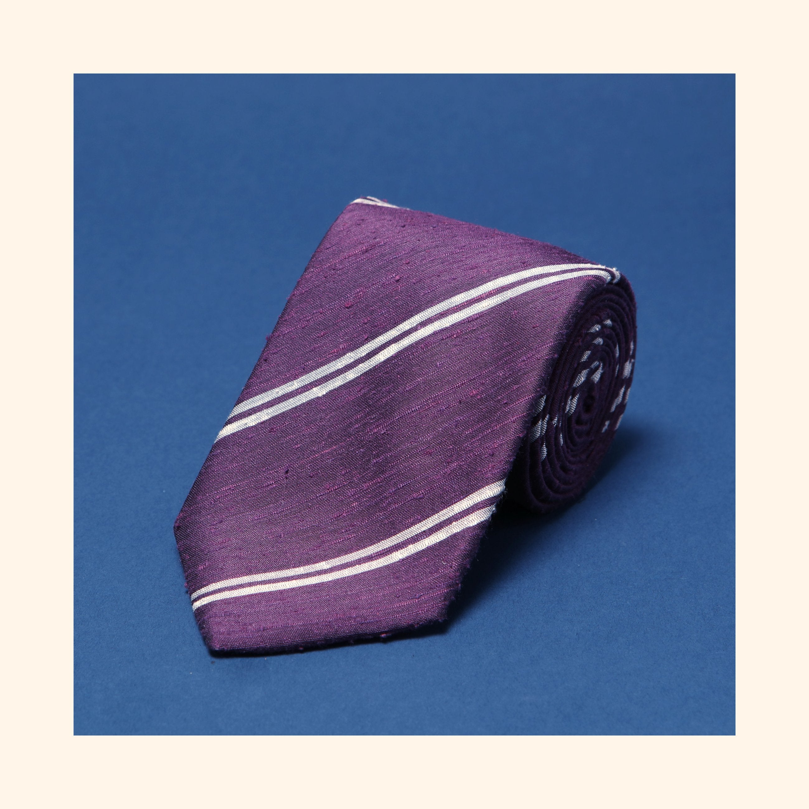 "â""– 075 - Purple Twin Ivory Stripe Shantung Silk Tie"