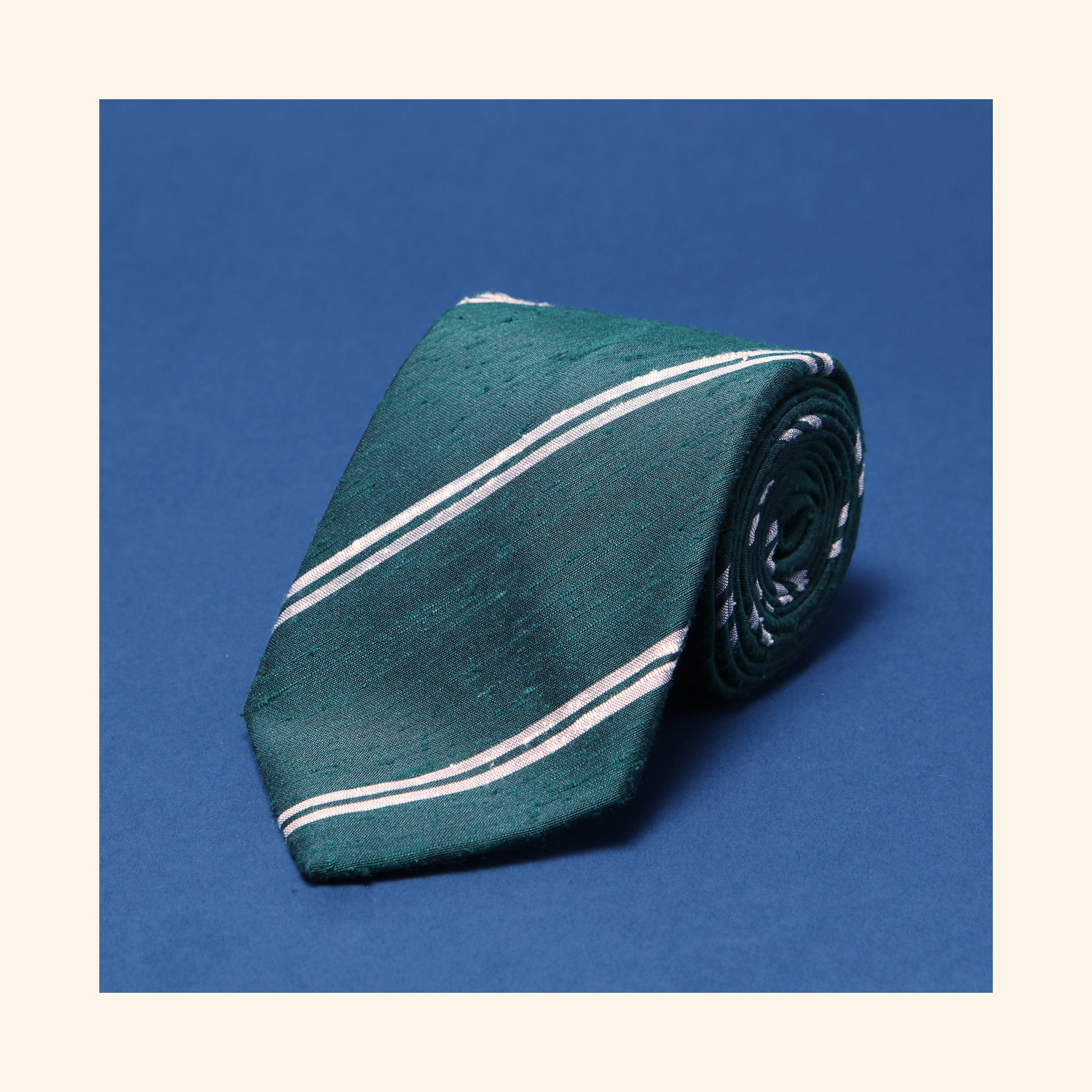 "â""– 076 - Green Twin Ivory Stripe Shantung Silk Tie"