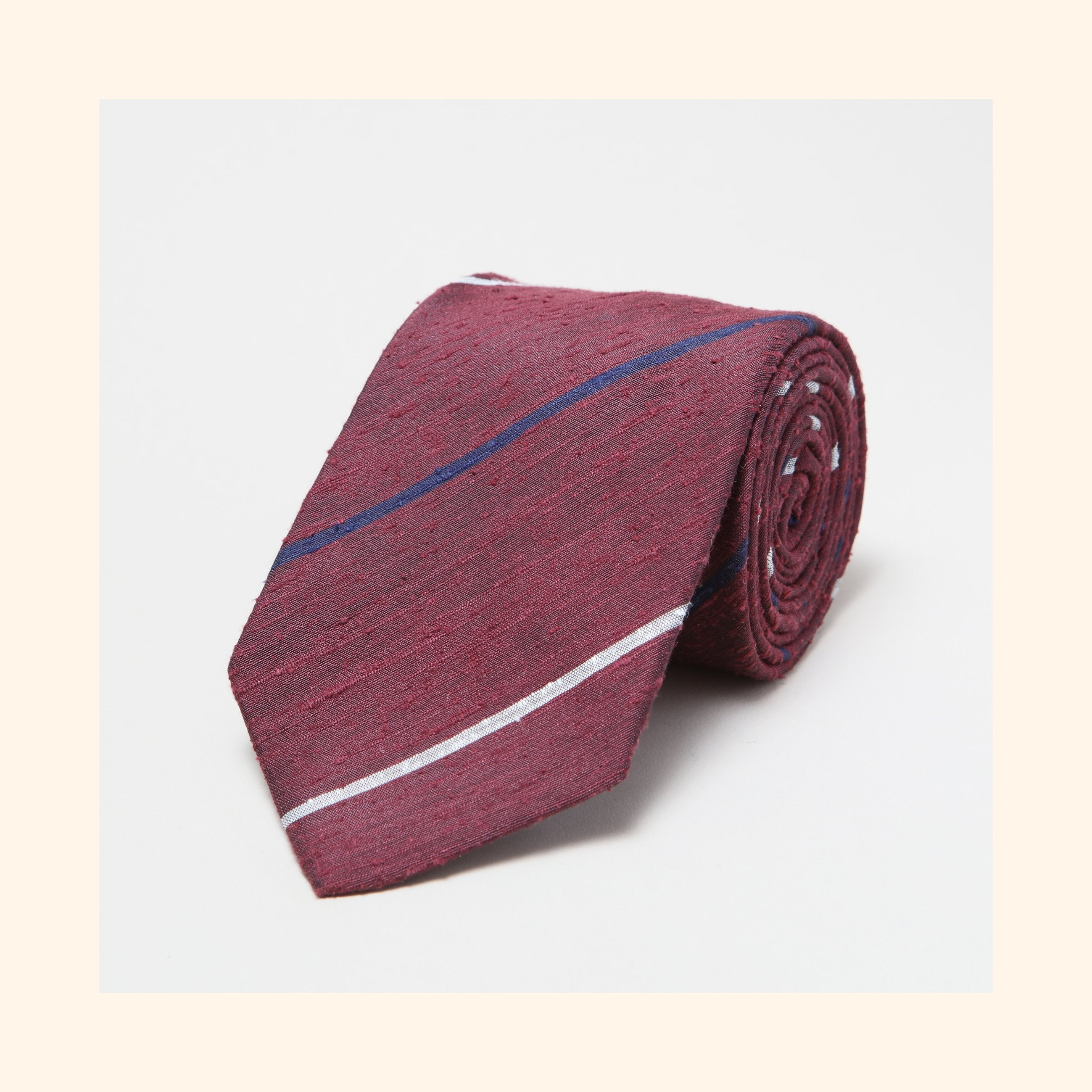 № 080 - Burgundy Navy/Ivory Alternate Stripe Shantung Silk Tie