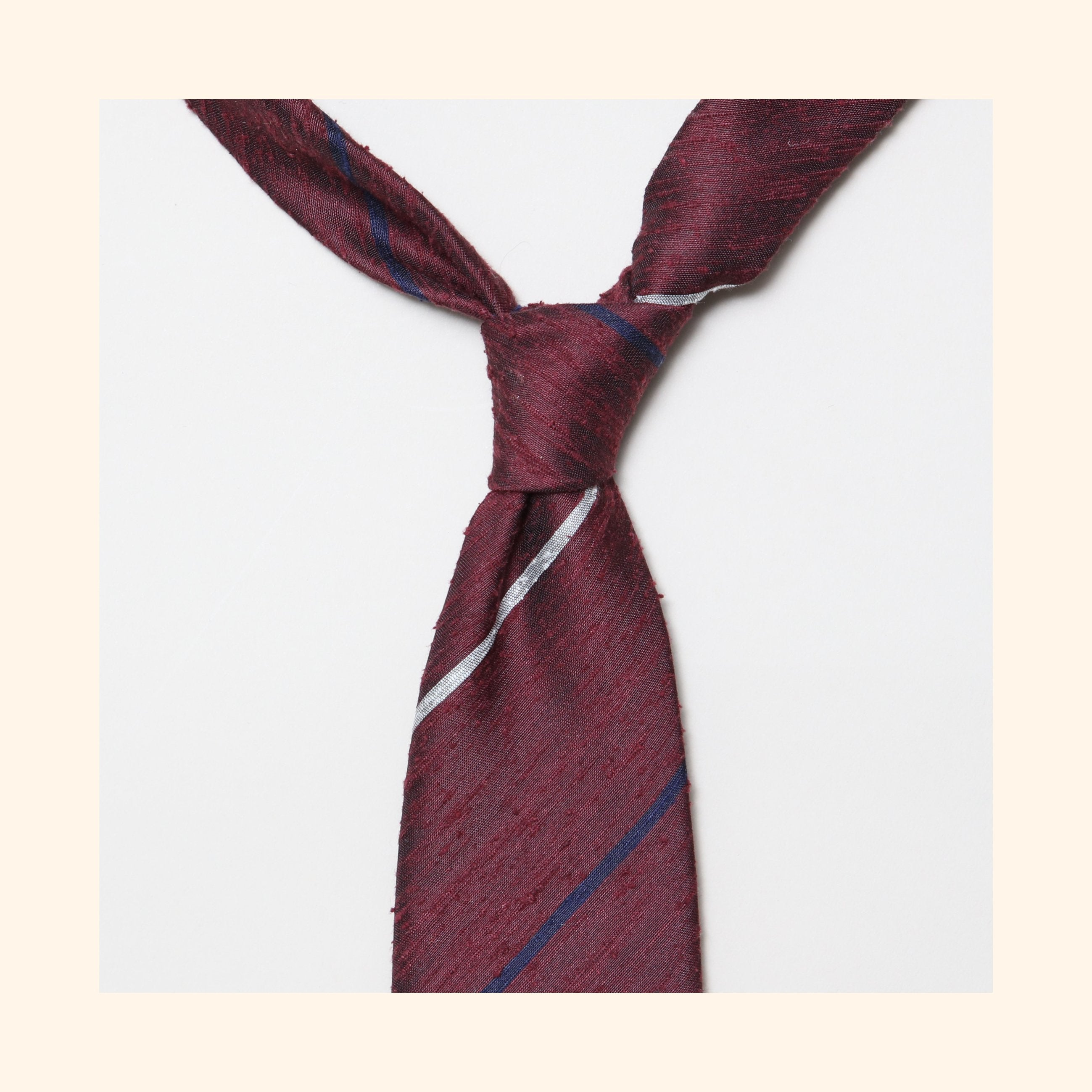"â""– 080 - Burgundy Navy/Ivory Alternate Stripe Shantung Silk Tie"
