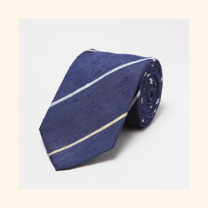 № 081 - Navy Gold/Ivory Alternate Stripe Shantung Silk Tie