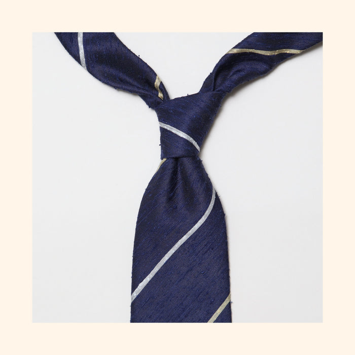 "â""– 081 - Navy Gold/Ivory Alternate Stripe Shantung Silk Tie"