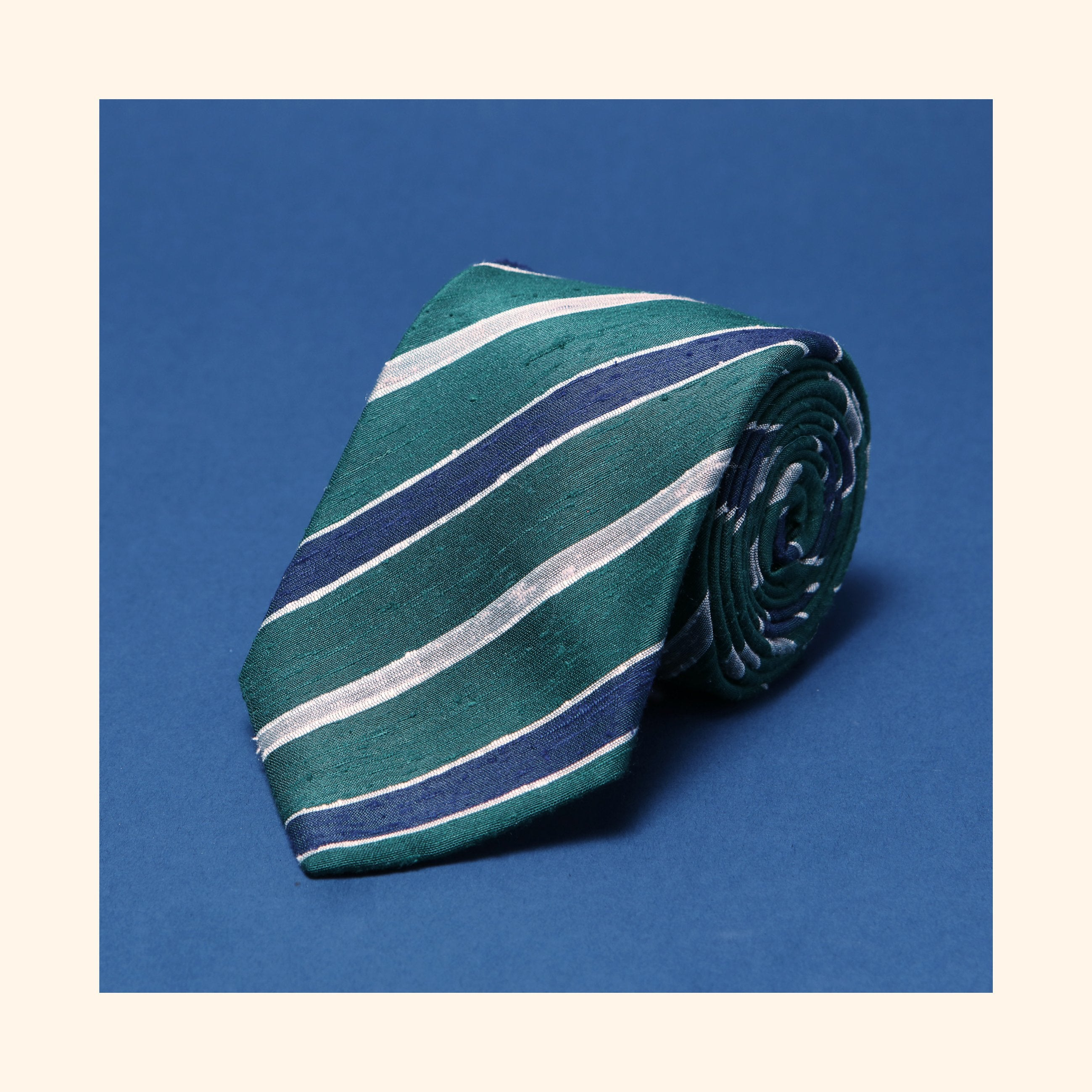 "â""– 086 - Green/Navy/Ivory Double Stripe Shantung Silk Tie"