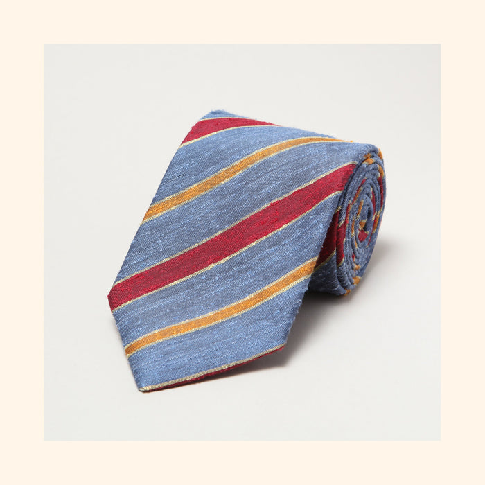 № 087 - Corsican Blue/Red/Orange Double Stripe Shantung Silk Tie