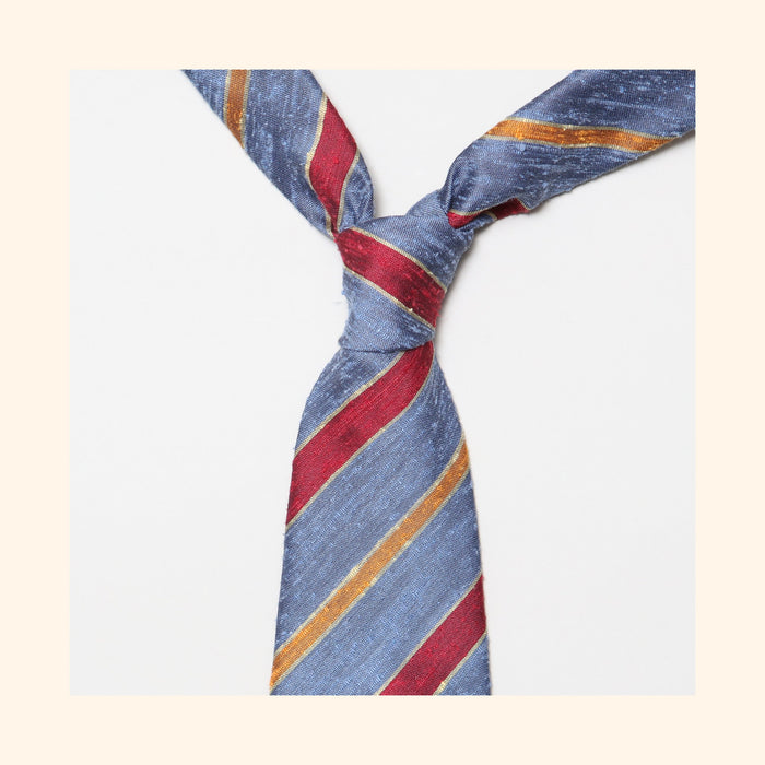 "â""– 087 - Corsican Blue/Red/Orange Double Stripe Shantung Silk Tie"