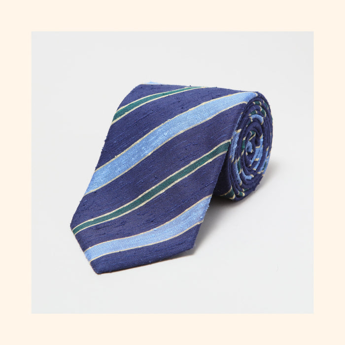 № 088 - Navy/Sky Blue/Green Double Stripe Shantung Silk Tie
