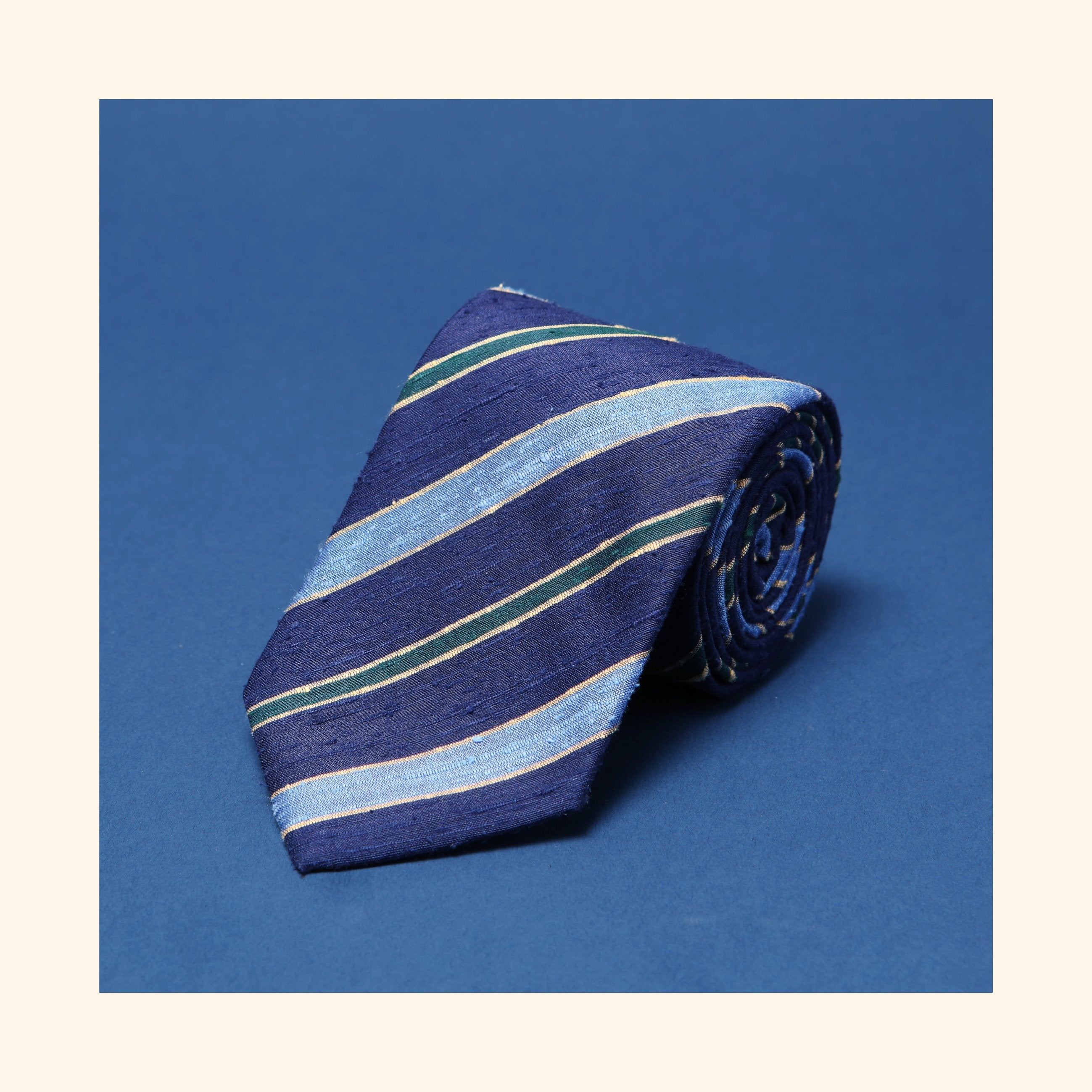 "â""– 088 - Navy/Sky Blue/Green Double Stripe Shantung Silk Tie"