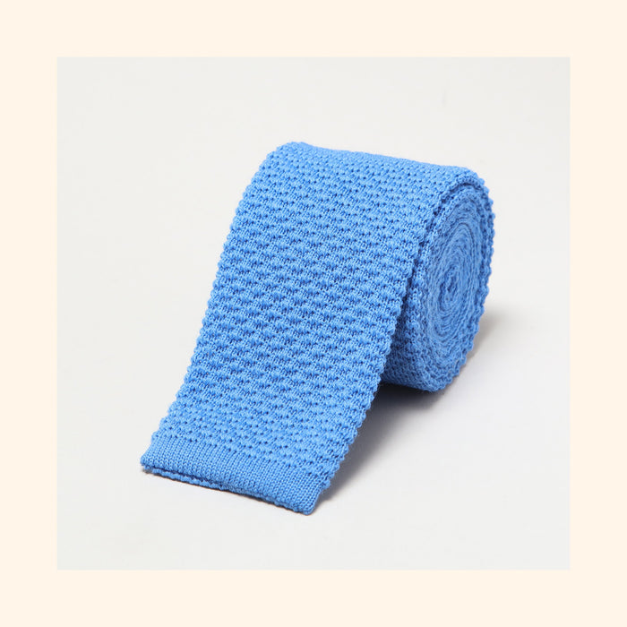 № 095 - Sky Blue Knitted Wool Tie