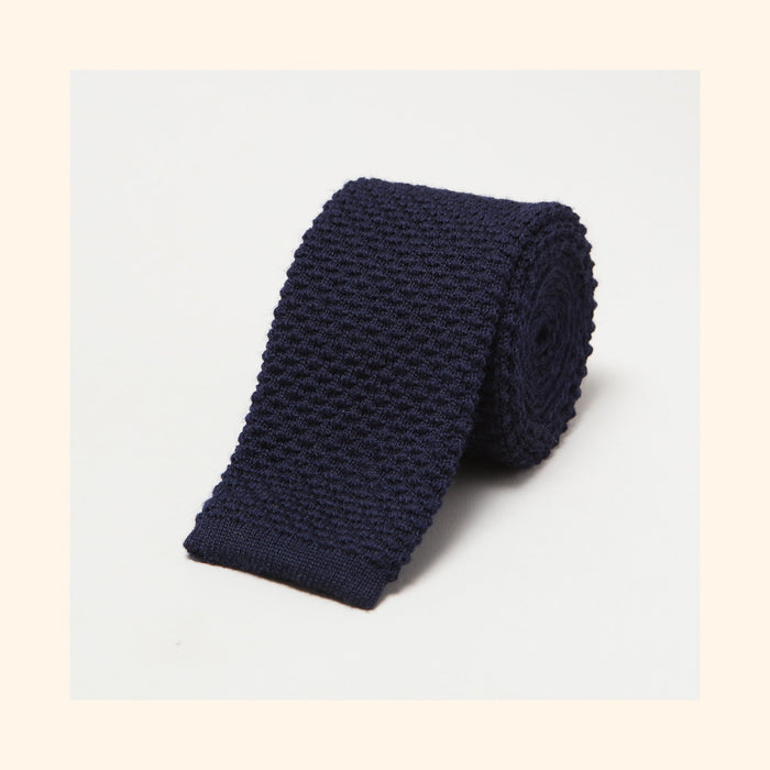 № 096 - Navy Knitted Wool Tie