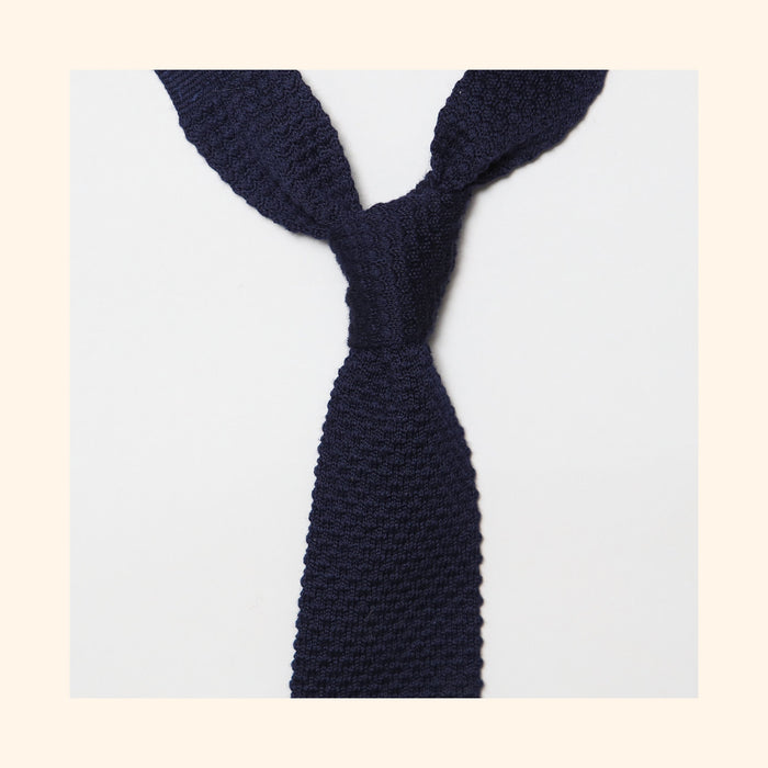 "â""– 096 - Navy Knitted Wool Tie"