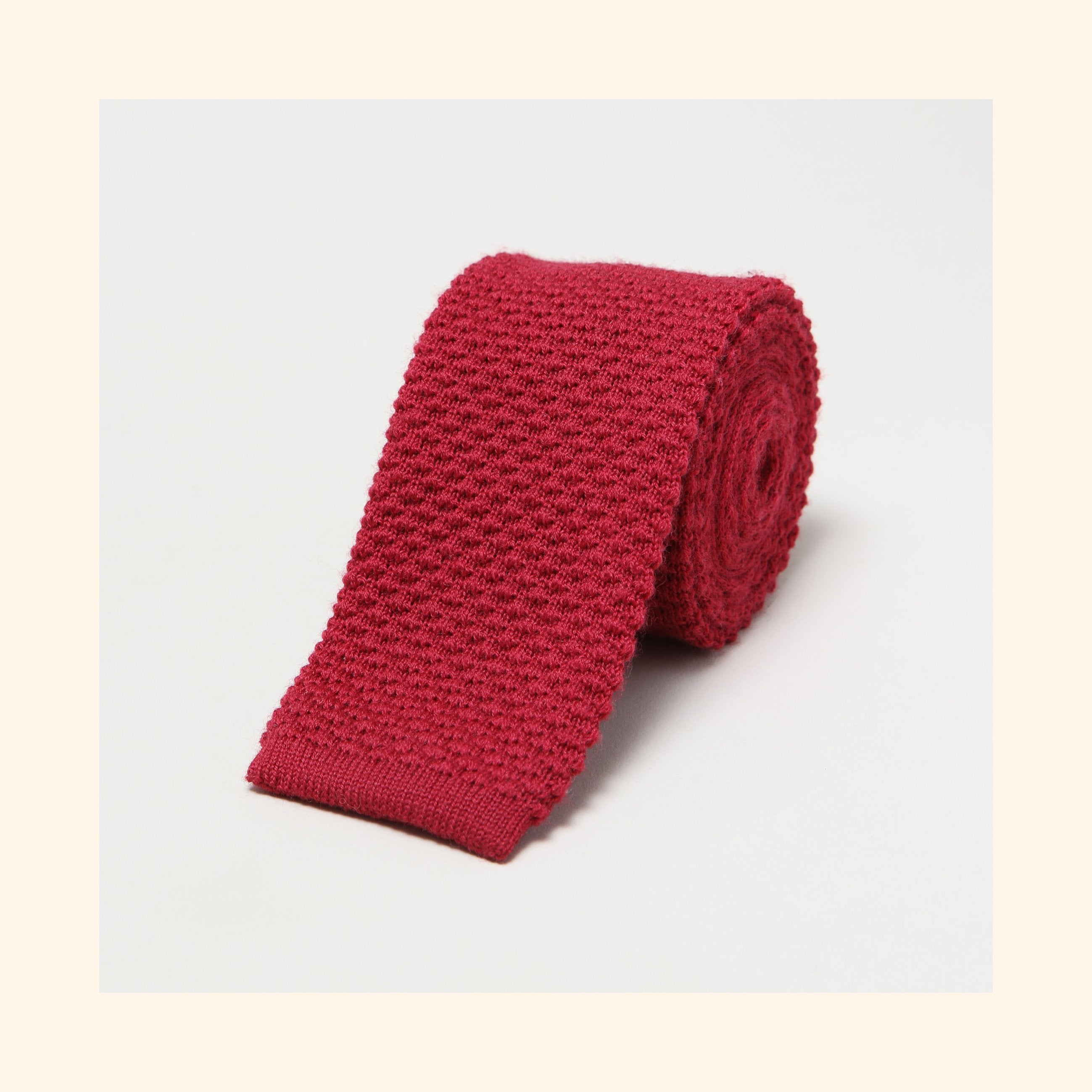 № 098 - Burgundy Knitted Wool Tie