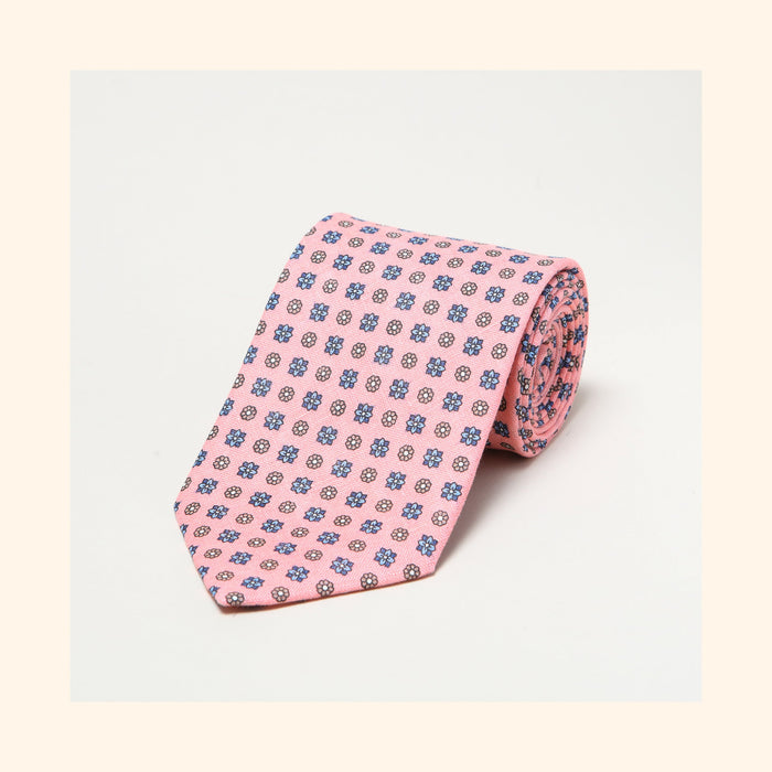 № 110 - Pink Neat Floral Screen Printed Linen Tie