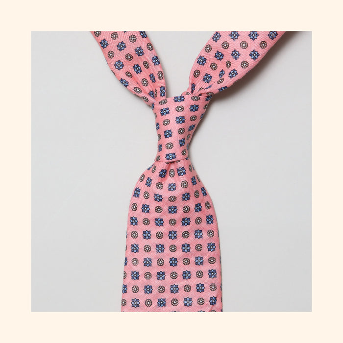 "â""– 110 - Pink Neat Floral Screen Printed Linen Tie"
