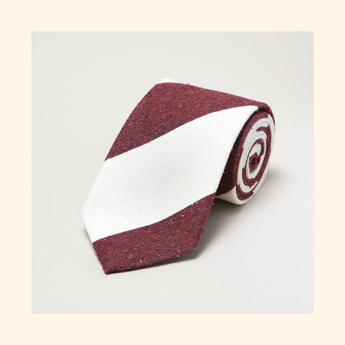 № 137 - Burgundy/Ivory Wide Stripe Tipo Silk/Wool Blend Tie
