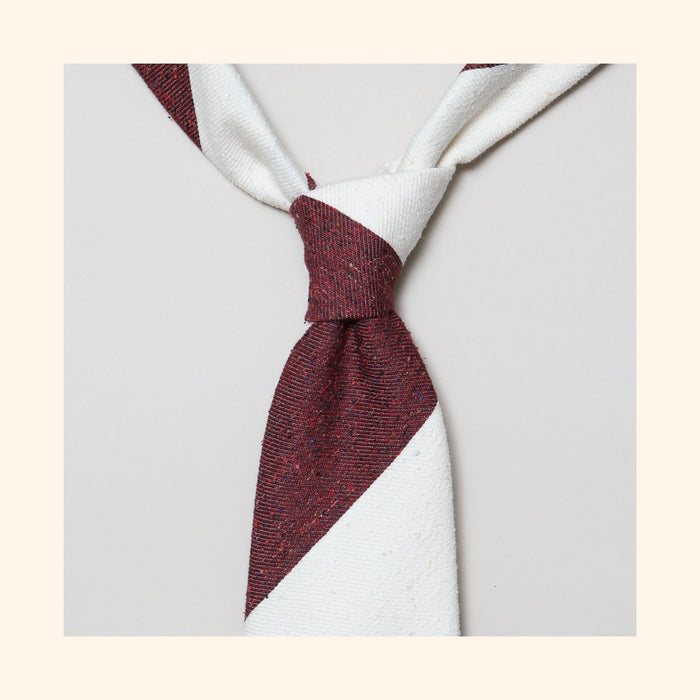 "â""– 137 - Burgundy/Ivory Wide Stripe Tipo Silk/Wool Blend Tie"