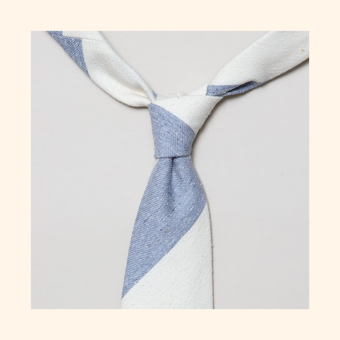 "â""– 138 - Sea Blue/Ivory Wide Stripe Tipo Silk/Wool Blend Tie"