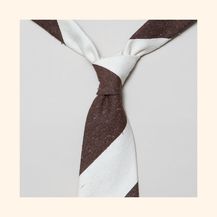 "â""– 139 - Brown/Ivory Wide Stripe Tipo Silk/Wool Blend Tie"