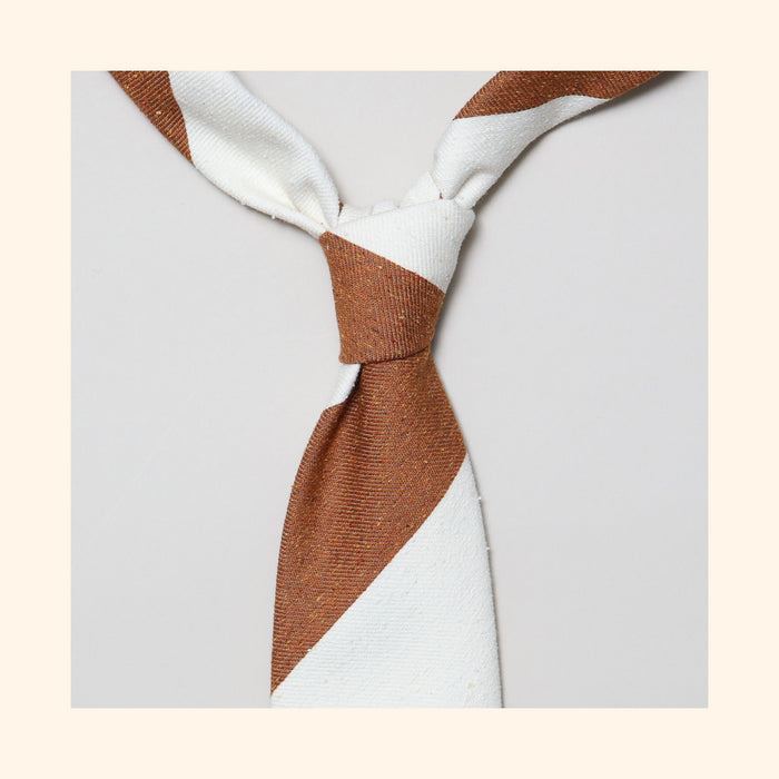 "â""– 140 - Rustic Orange/Ivory Wide Stripe Tipo Silk/Wool Blend Tie"