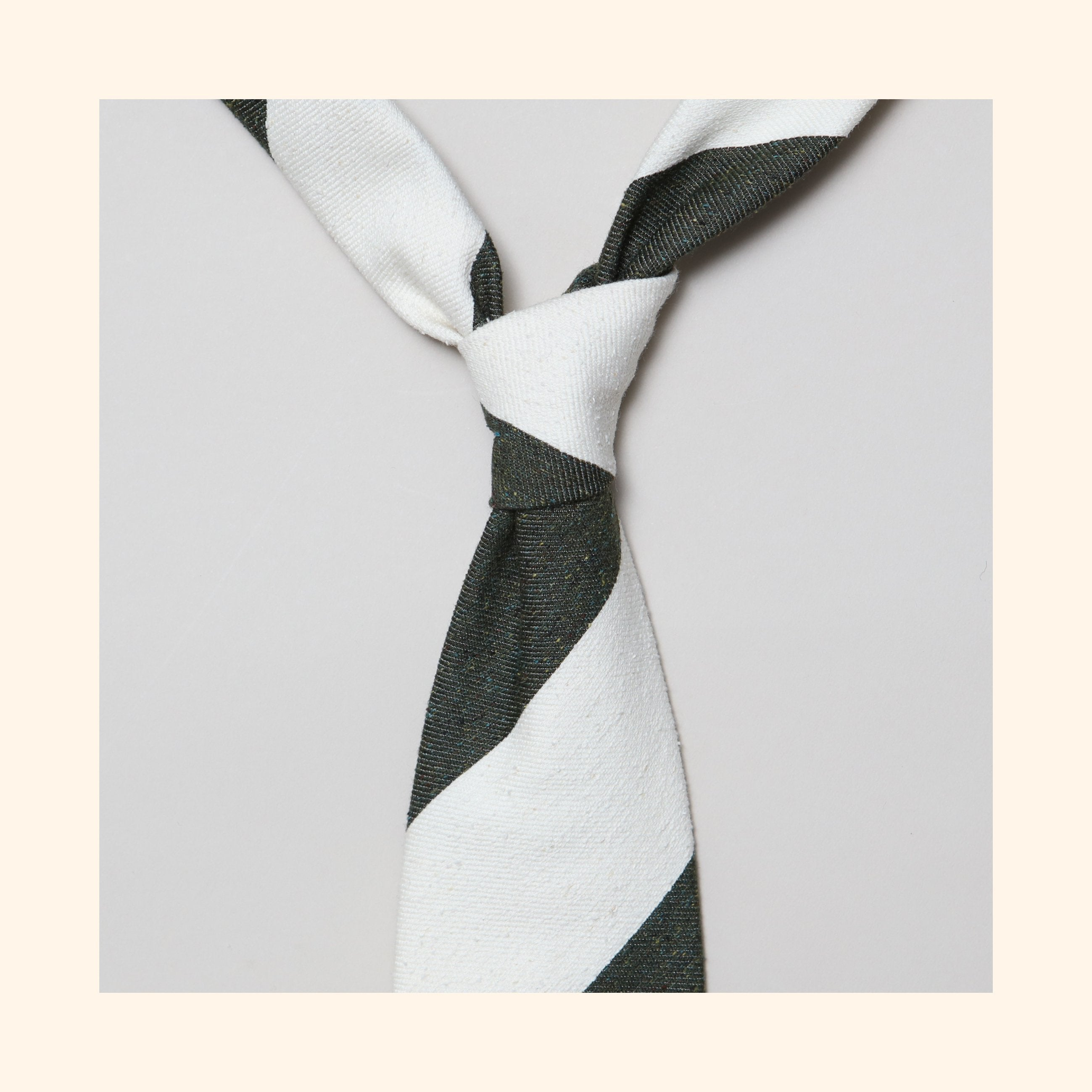 "â""– 141 - Moss Green/Ivory Wide Stripe Tipo Silk/Wool Blend Tie"