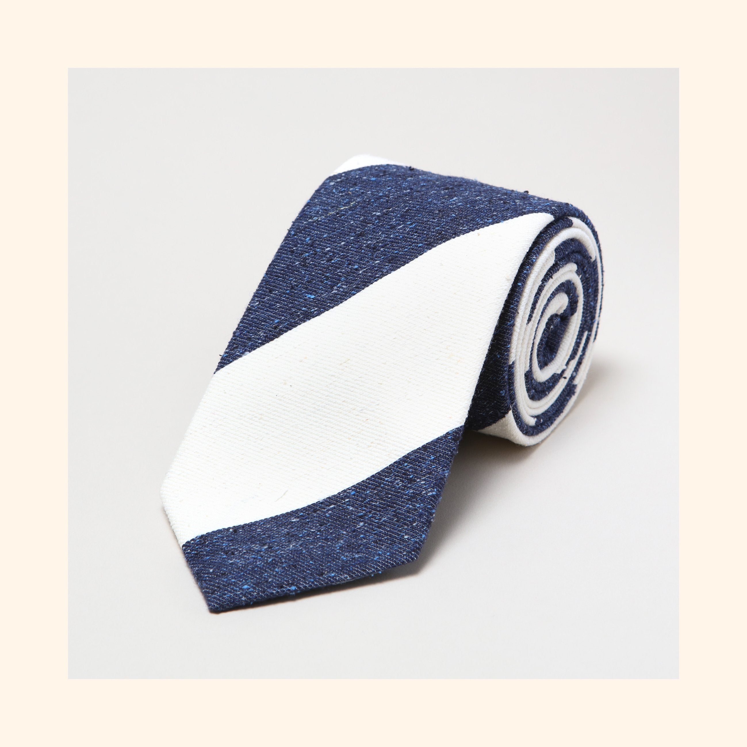 № 142 - Navy/Ivory Wide Stripe Tipo Silk/Wool Blend Tie
