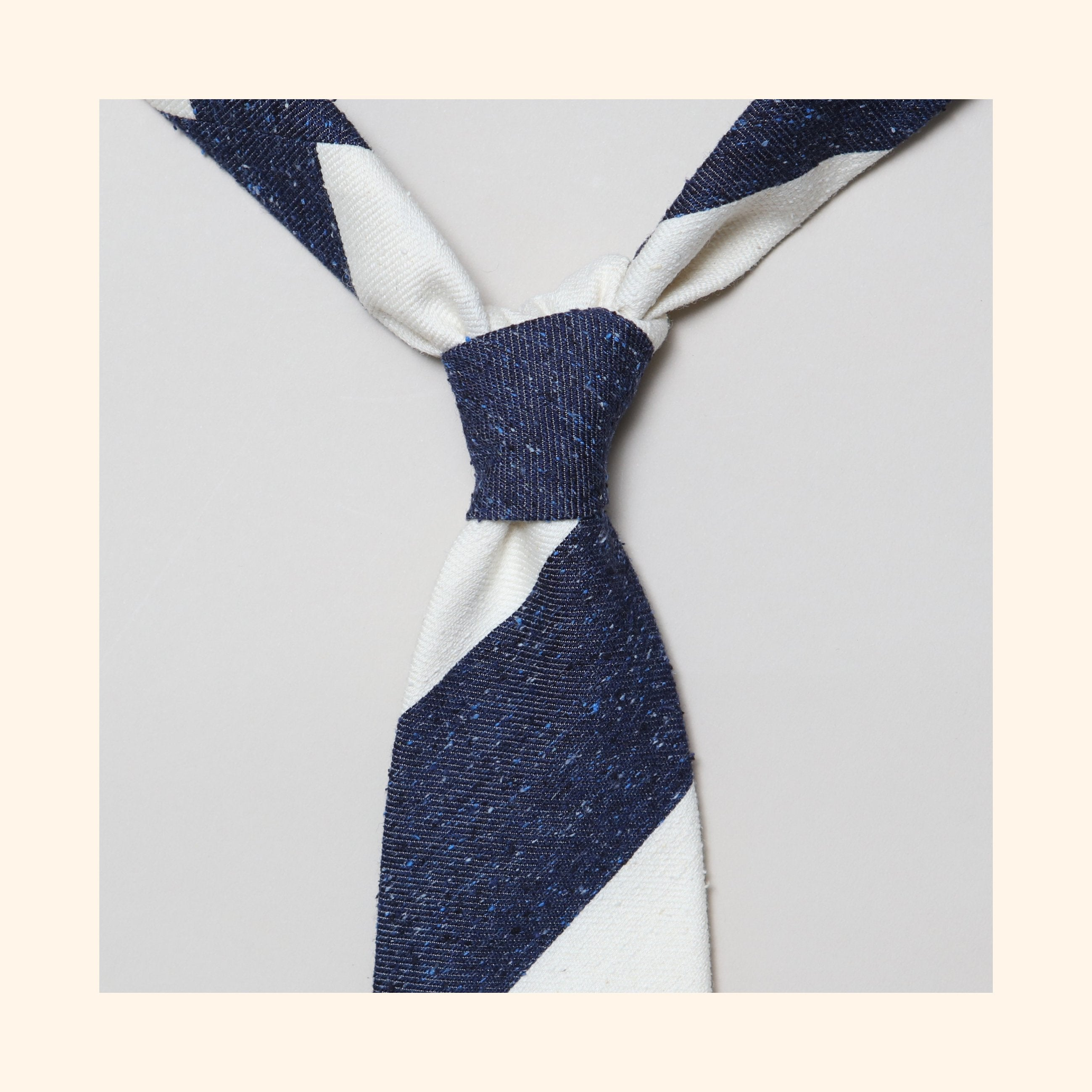 "â""– 142 - Navy/Ivory Wide Stripe Tipo Silk/Wool Blend Tie"