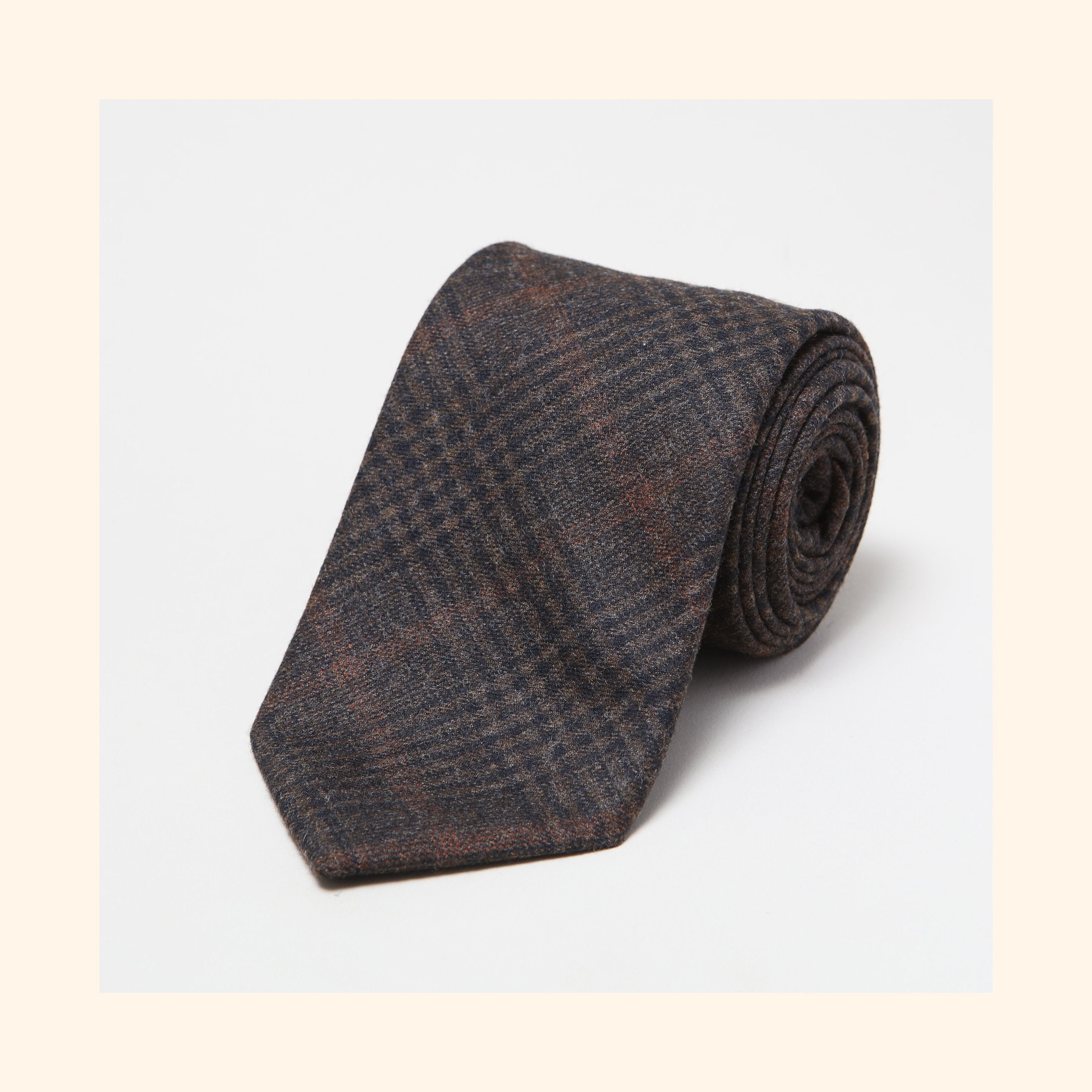 № 150 - Fox Brothers Chocolate Brown Prince of Wales Glen Check Pure Wool Tie
