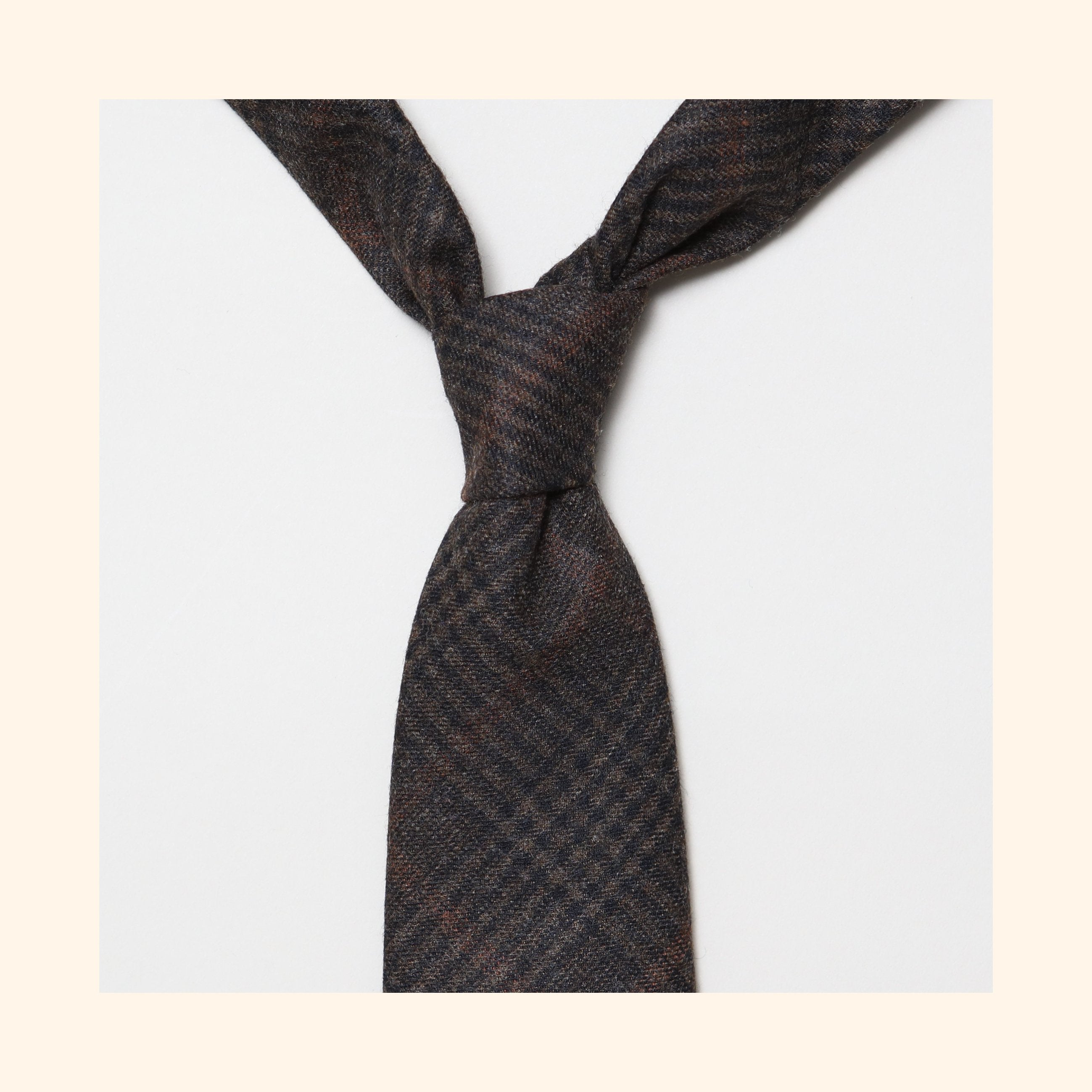 "â""– 150 - Fox Brothers Chocolate Brown Prince of Wales Glen Check Pure Wool Tie"