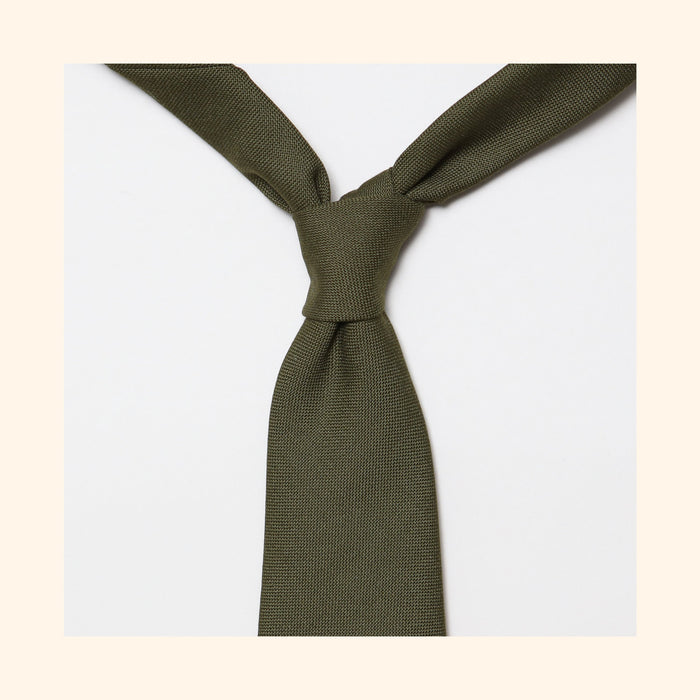 "â""– 153 - Fox Brothers Regimental Green Hopsack Pure Wool Tie"