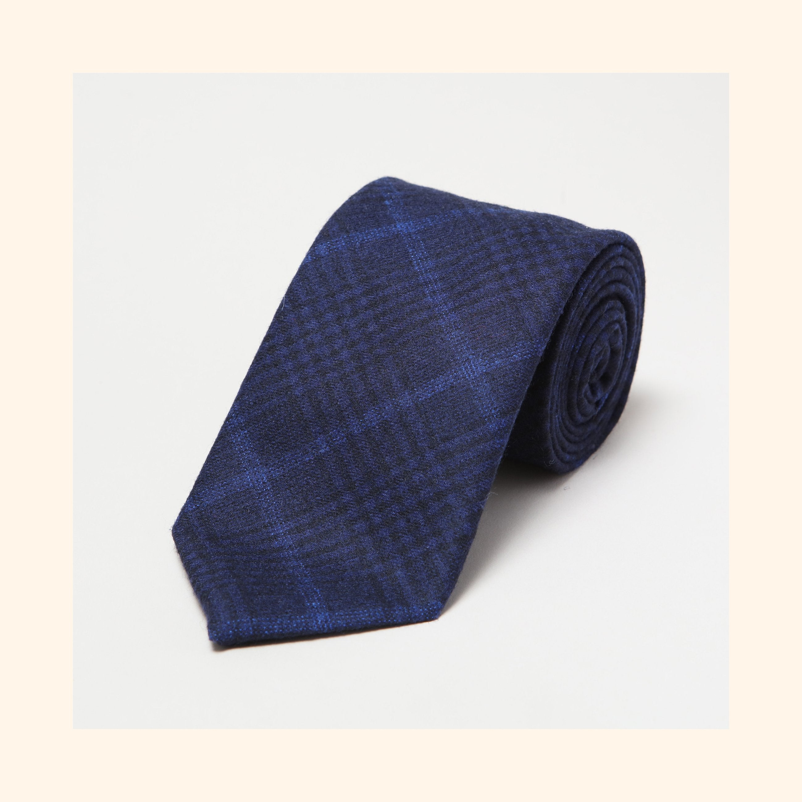 № 155 - Fox Brothers Navy & Onyx Midnight Prince of Wales Glen Check Pure Wool Tie
