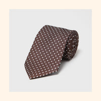 № 022 - Brown Dot Screen-Printed 50oz Silk Tie