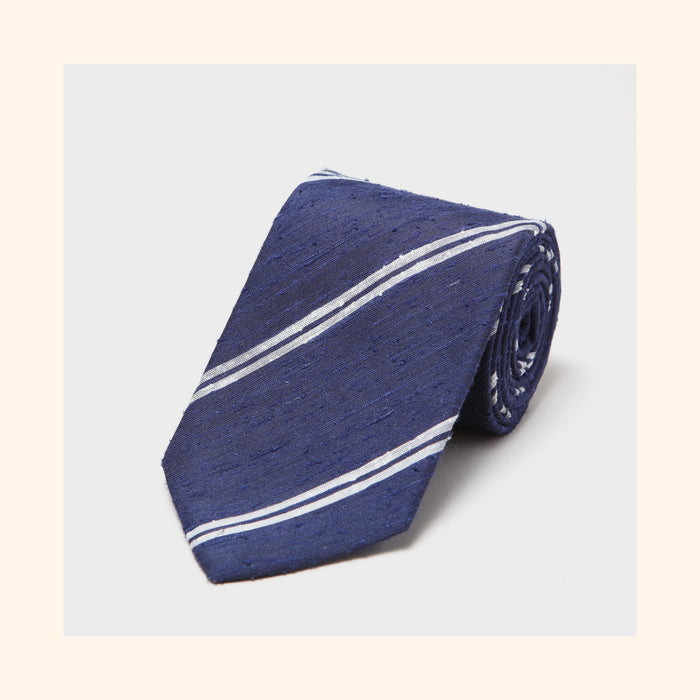 № 074 - Navy Twin Ivory Stripe Shantung Silk Tie