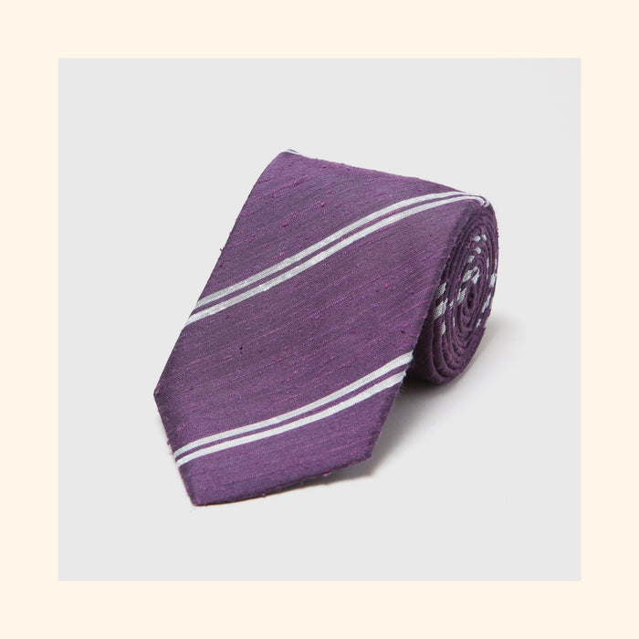 № 075 - Purple Twin Ivory Stripe Shantung Silk Tie