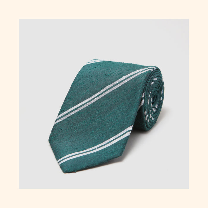 № 076 - Green Twin Ivory Stripe Shantung Silk Tie