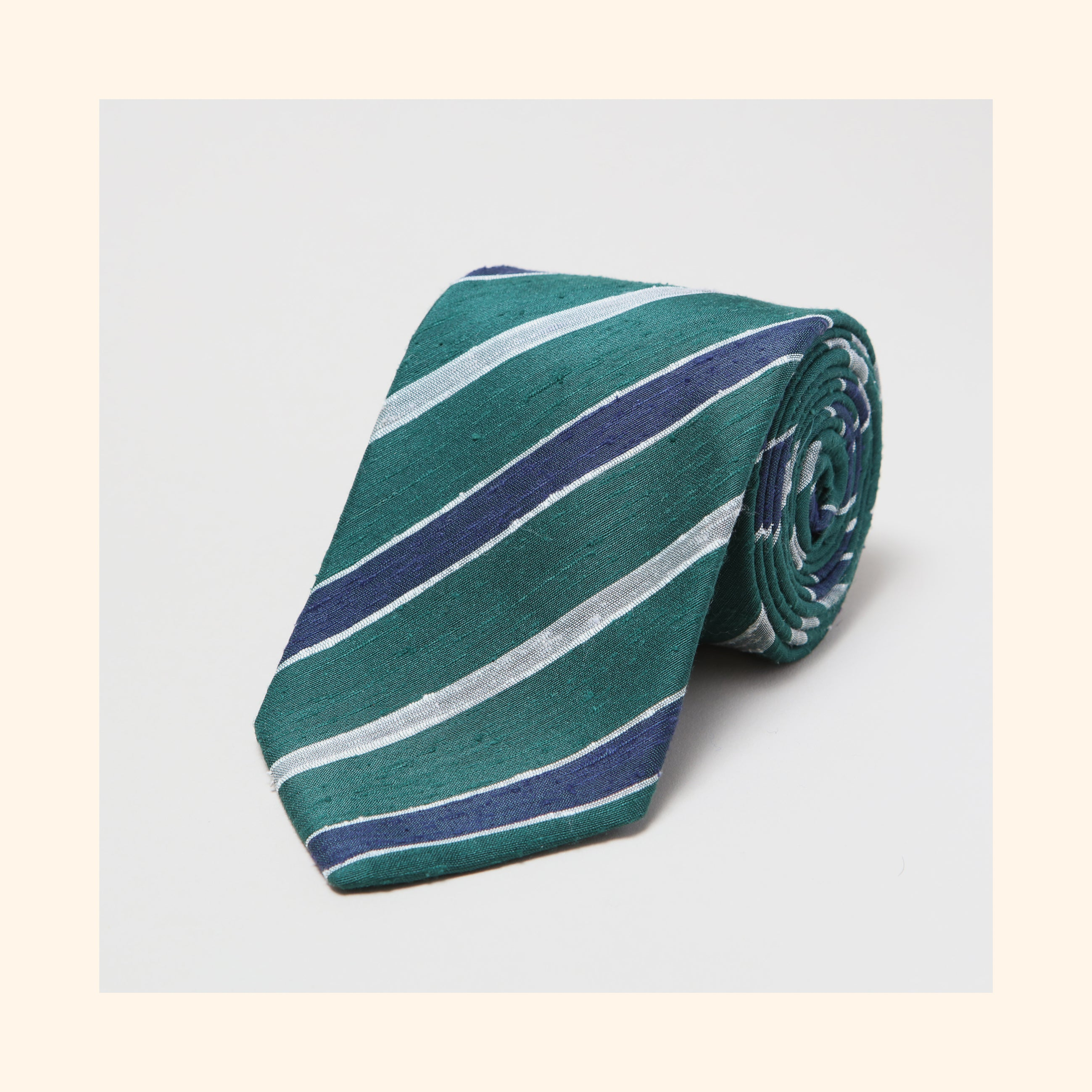 № 086 - Green/Navy/Ivory Double Stripe Shantung Silk Tie