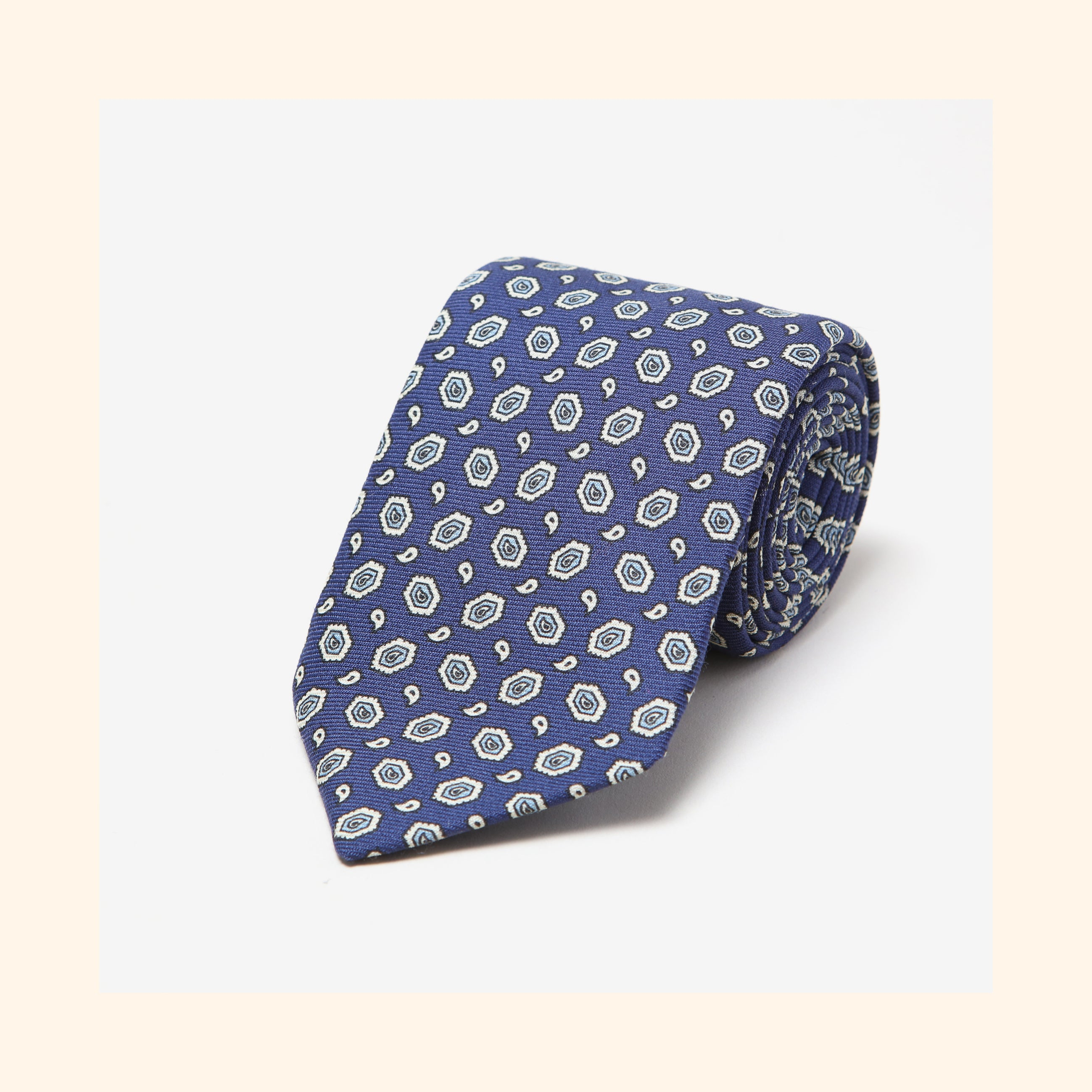 № 029 - Blue/Ivory Hexagon Paisley Screen-Printed Wool Challis Tie