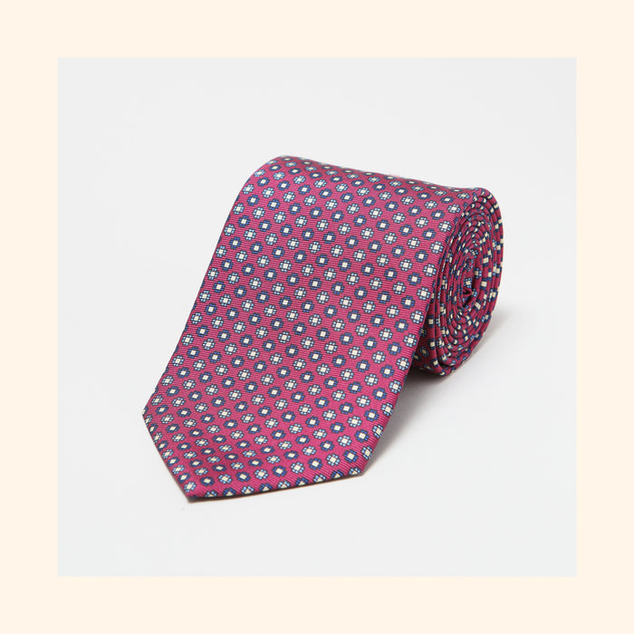 № 044 - Plum Geometric Screen-Printed 36oz Silk Tie