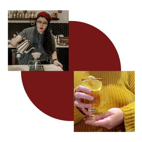 Collage with cocktails and mixologist