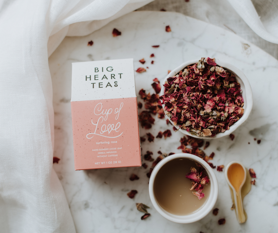 Big Heart Tea Co.'s organic Cup of Love tulsi and rose tea
