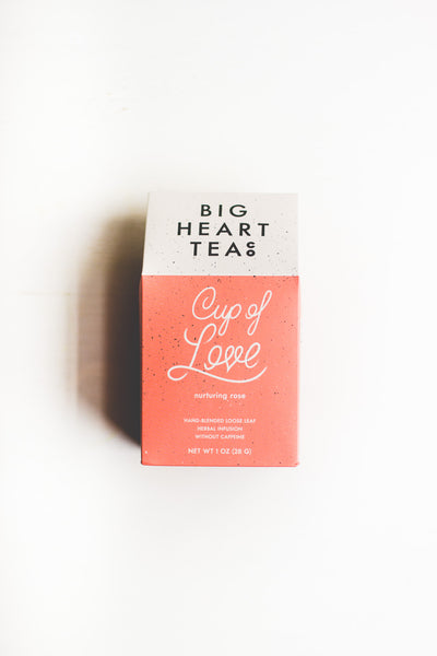 Big Heart Tea Co. Cup of Love tea box, certified organic rose and tulsi tea