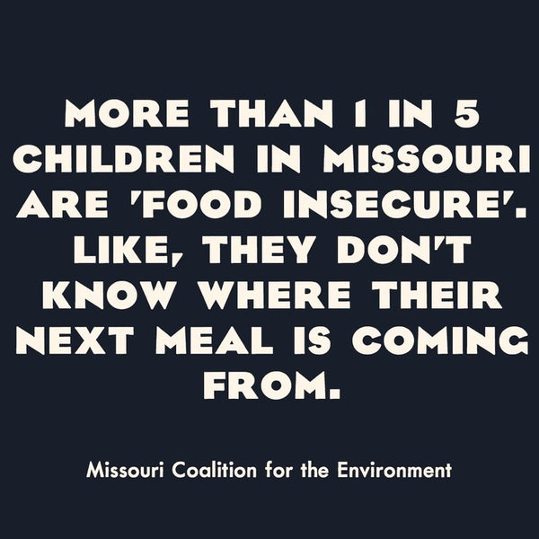 More than 1 in 5 children in Missouri are food insecure. Like, they don't know where their next meal is coming from. Source: Missouri Coalition for the Environment