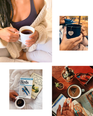 Collage with woman holding tea