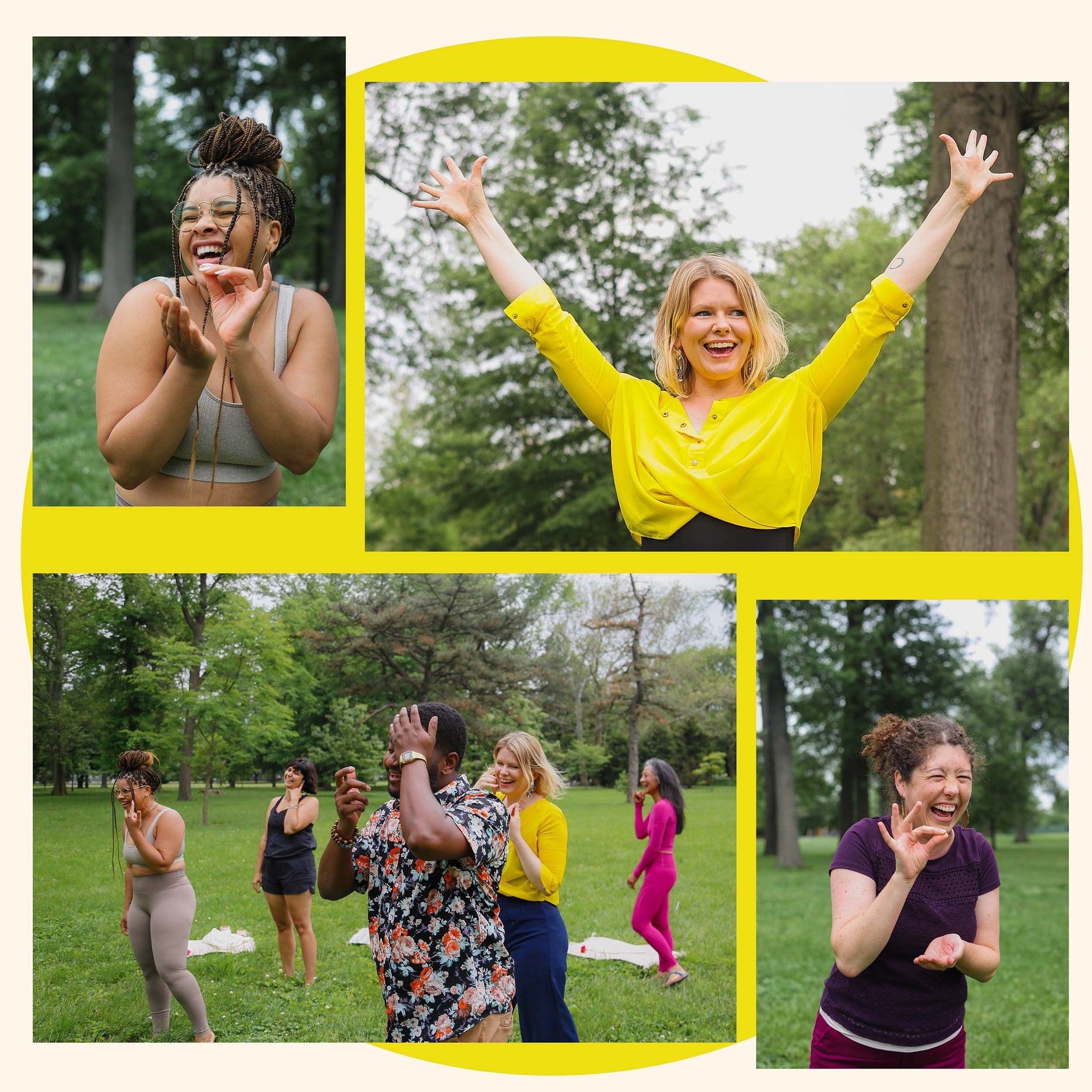 Image of people standing and smiles on their faces doing laughing yoga.