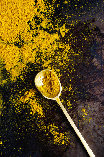 Turmeric, Ginger, Lemongrass, Malabar peppercorn. Freshly-powdered