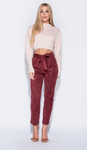 Suedette Paper Bag Waist Trousers