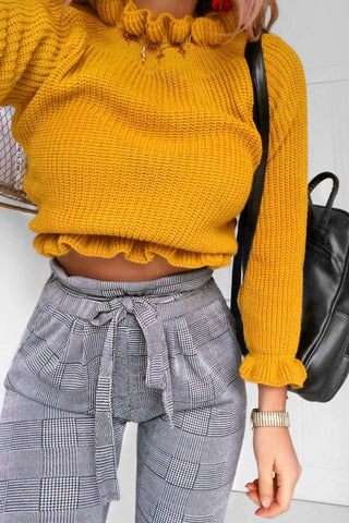 ANNE Mustard Ribbed Pleated High Neck Cropped Jumper
