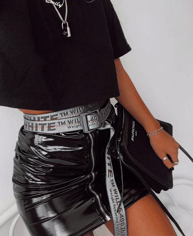 Front Zip Detail Mini Skirt